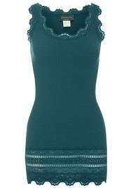 Rosemunde Wide Lace Silk Blend Vest - Blue Mirage