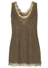 Rosemunde Billie Lace Cami Top - Green Leopard