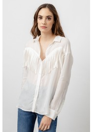 Rails Dallas Fringe Shirt - Ivory