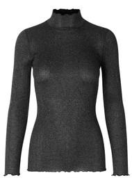 Rosemunde Bliss Lurex Polo Neck Top - Black Silver Shine