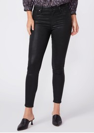 Paige Denim Muse High Rise Coated Skinny Fit Ankle Jeans - Black Fog