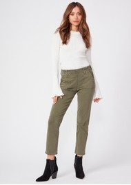 Paige Denim Mayslie Slim Straight Side Zipper Joggers - Vintage Ivy Green