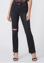 Paige Denim Cindy High Rise Straight Leg Undone Hem Jeans - Night Owl Destructed