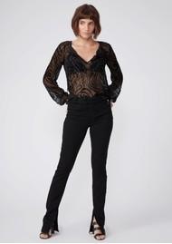 Paige Denim Selmah Silk Mix Blouse - Black Woodgrain