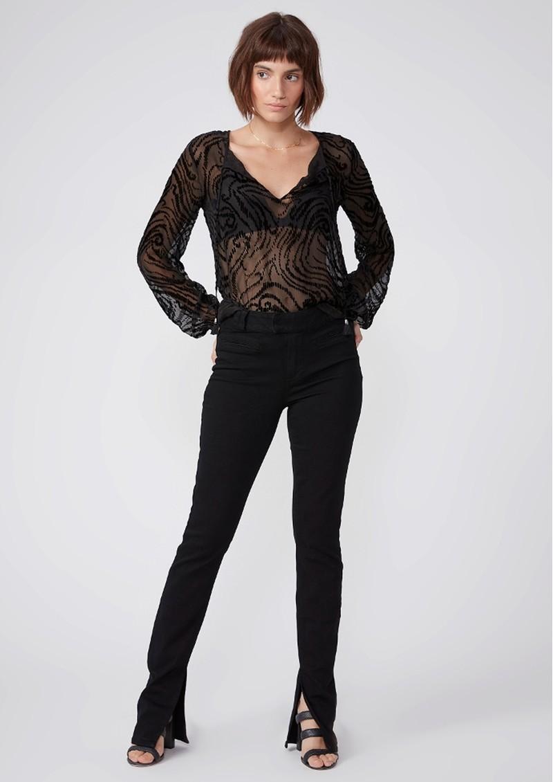 Paige Denim Selmah Silk Mix Blouse - Black Woodgrain main image