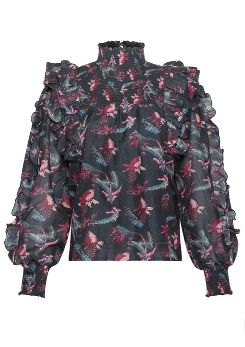 MAGALI PASCAL Laurena Silk Mix Top - Tropical Dark main image