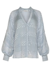 MAGALI PASCAL Marlene Silk Mix Shirt - Ice Blue