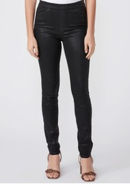 Paige Denim Hoxton High Rise Pull On Coated Skinny Pants - Black Fog Luxe