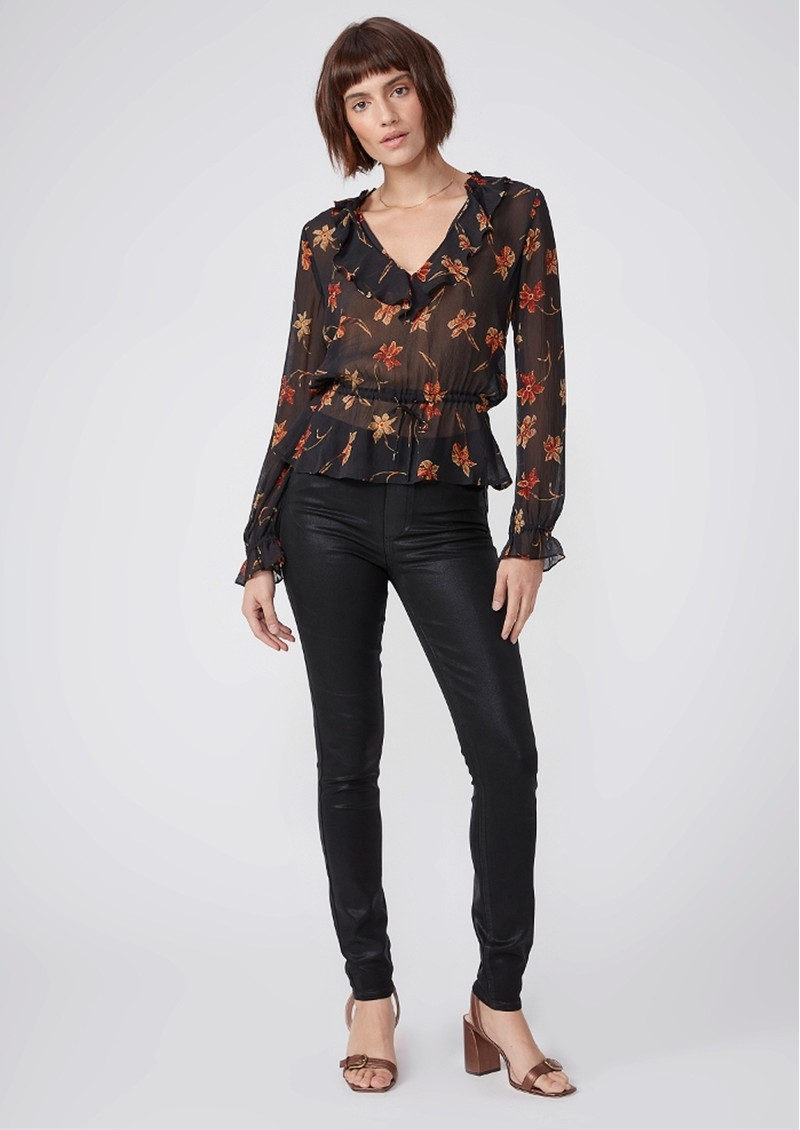 Paige Denim Hoxton High Rise Pull On Coated Skinny Pants - Black Fog Luxe main image