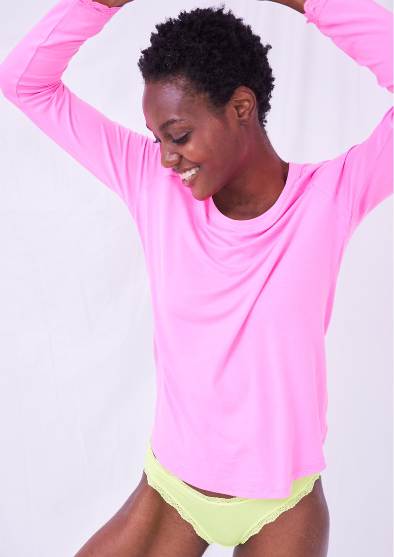 STRIPE & STARE Slouch Top - Hot Pink main image