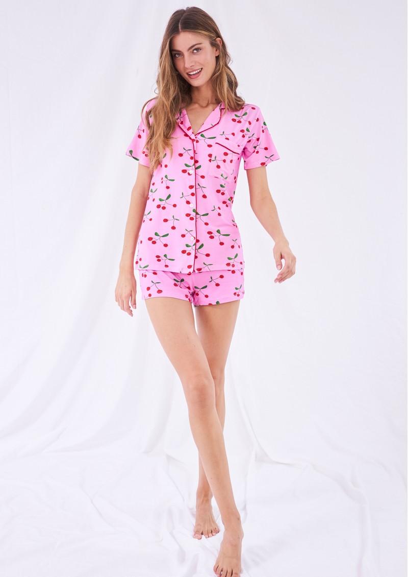 STRIPE & STARE Bedshort Pyjama Set - The Cherries main image