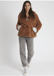 BERENICE Marta Faux Fur Jacket - Chocolat