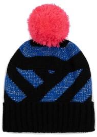 MISS POM POM Stripe Beanie Hat - Blue Glitter