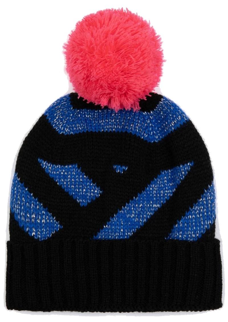 MISS POM POM Stripe Beanie Hat - Blue Glitter main image