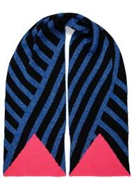 MISS POM POM Stripe Scarf - Blue Glitter