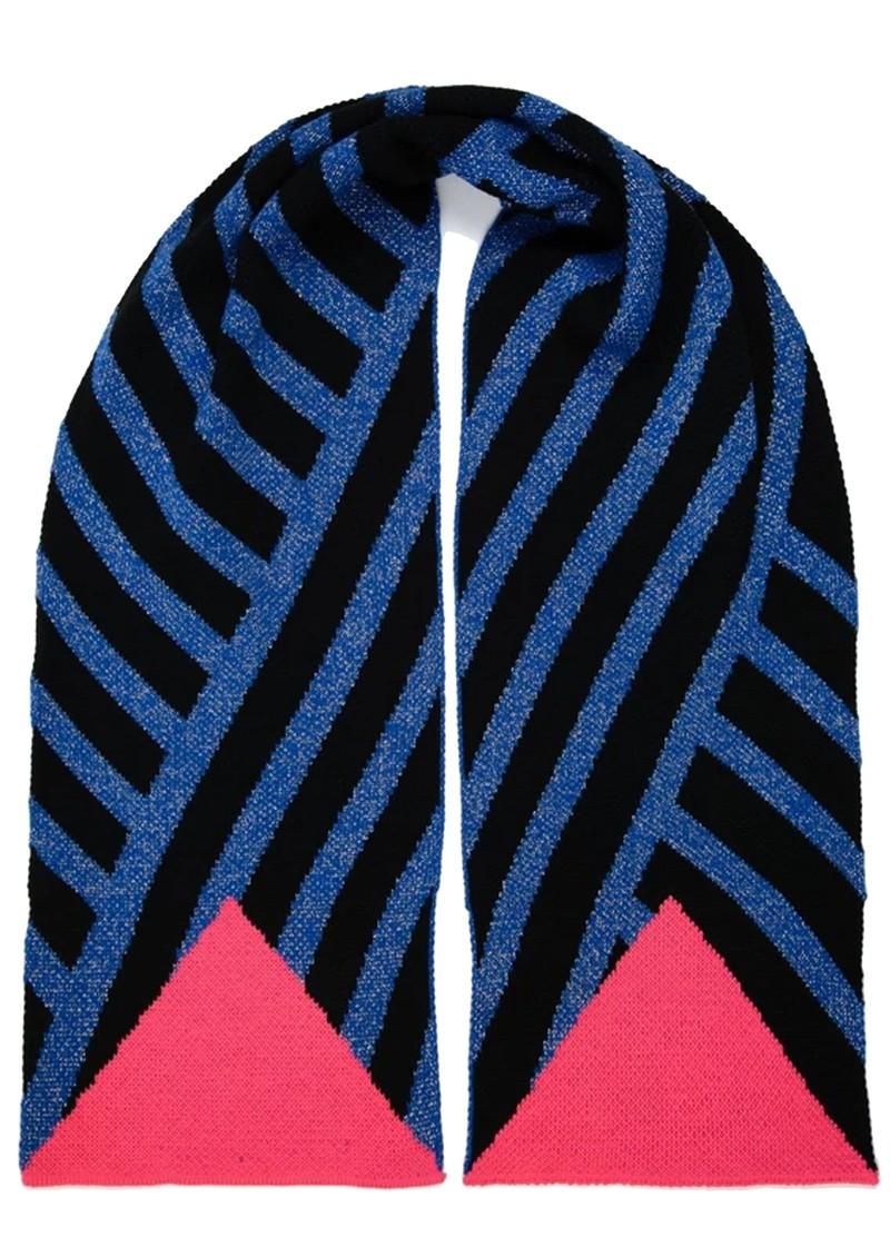 MISS POM POM Stripe Scarf - Blue Glitter main image