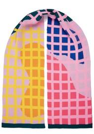 MISS POM POM Grid Scarf - Pink