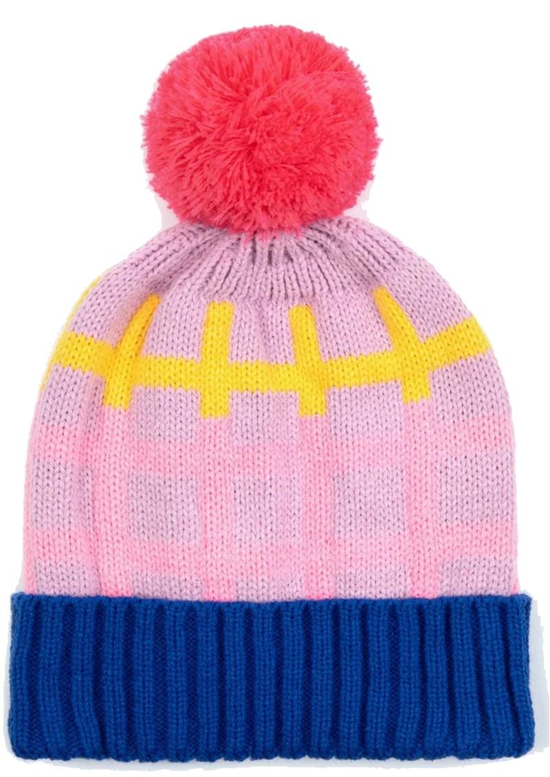 MISS POM POM Grid Beanie Hat - Pink main image