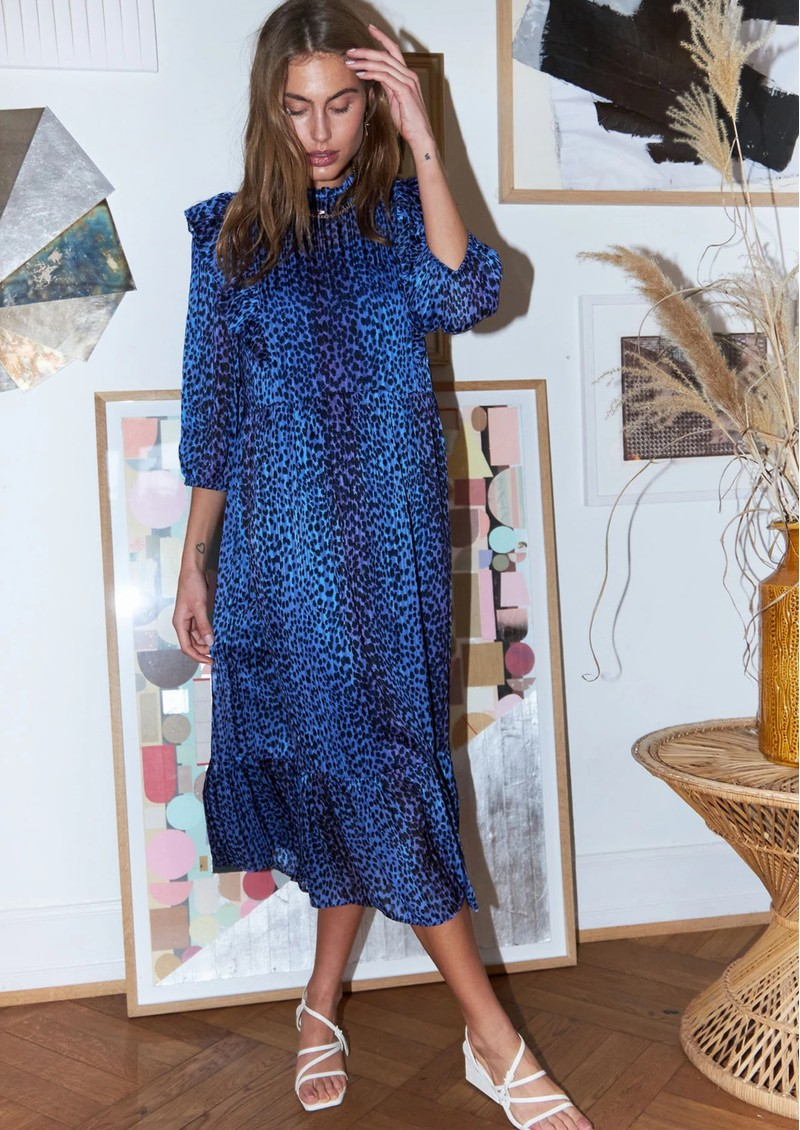 LOLLYS LAUNDRY Cana Printed Dress - Neon Blue main image