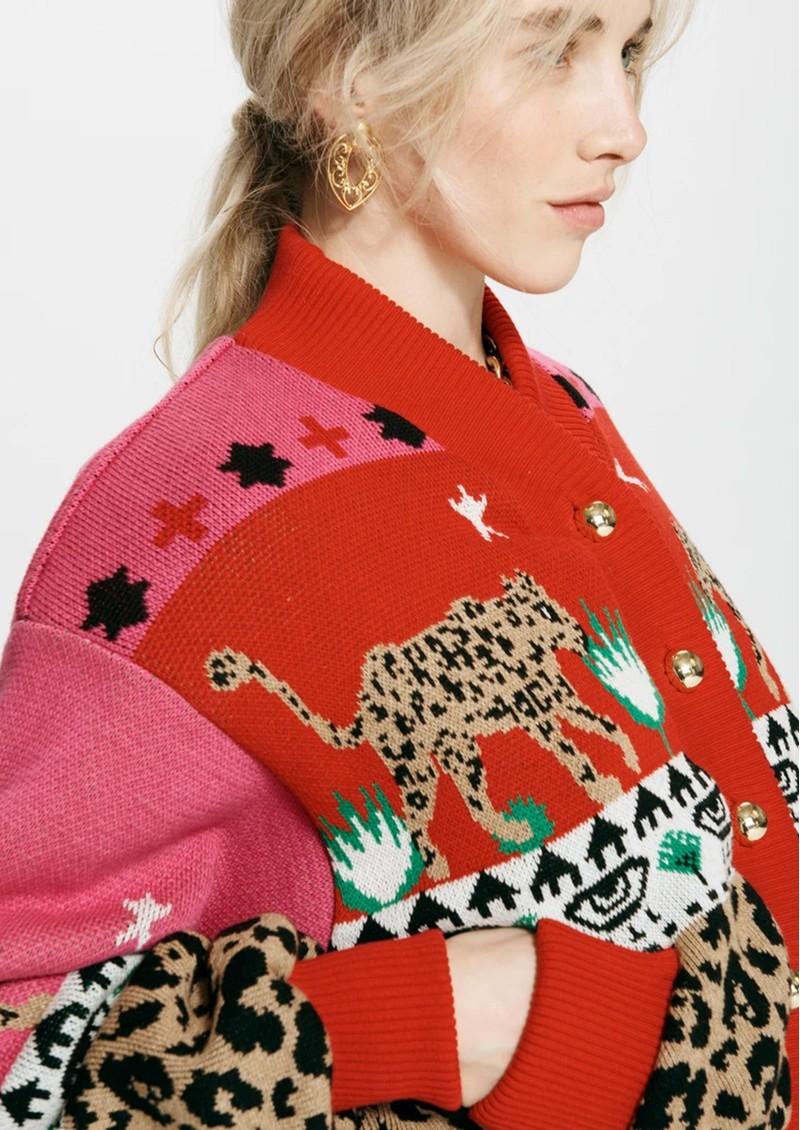 HAYLEY MENZIES Leopardess Cotton Merino Bomber Jacket - Pink main image