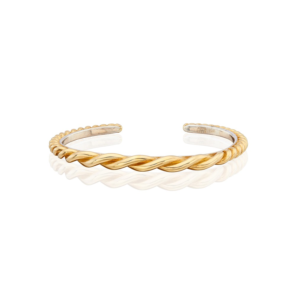 Pearl & Twisted Tapered Twisted Cuff - Gold