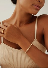 ANNA BECK Pearl & Twisted Tapered Twisted Cuff - Gold