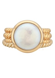 ANNA BECK Pearl & Twisted Coin Pearl Twisted Band Ring - Gold