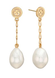 ANNA BECK Pearl & Twisted Baroque Pearl Chain Drop Earrings - Gold