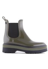 LEMON JELLY Netty 06 Vegan Platform Jelly Boots - Military Green