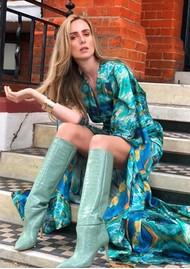 SIRENS Carmen Printed Maxi Dress - Blue Marble