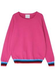 JUMPER 1234 Stripe Hem Sweat - Pink