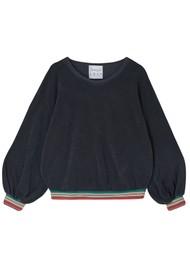 JUMPER 1234 Terry Stripe Hem Sweatshirt - Charcoal