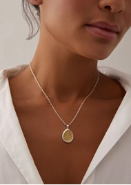 ANNA BECK Classic Smooth Rim Medium Teardrop Pendant Necklace - Gold & Silver