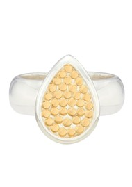 ANNA BECK Classic Smooth Rim Teardrop Ring - Gold & Silver