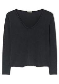 American Vintage Sonoma V Neck Long Sleeve Top - Vintage Black