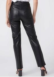 Paige Denim Stella High Rise Straight Leg Vegan Leather Jeans - Black