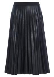 DEA KUDIBAL Amelia Pleated Faux Leather Midi Skirt - Black