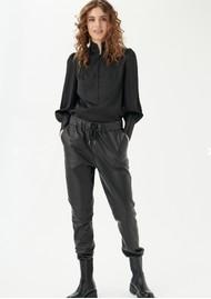 DEA KUDIBAL Helene Leather Tapered Trousers - Black