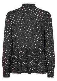 LEVETE ROOM Pam 3 Polka Dot Printed Blouse - Black