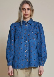 STELLA NOVA Reeta Cotton Denim Shirt - Wild Cherry