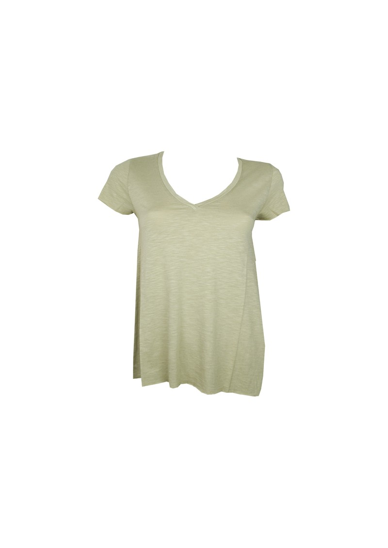 American Vintage Jacksonville Short Sleeve V Neck Tee - Clay Green main image