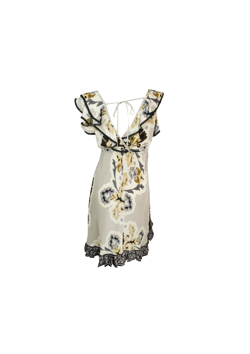 Hale Bob Silk Ruffled V Neck Dress - Light Grey main image