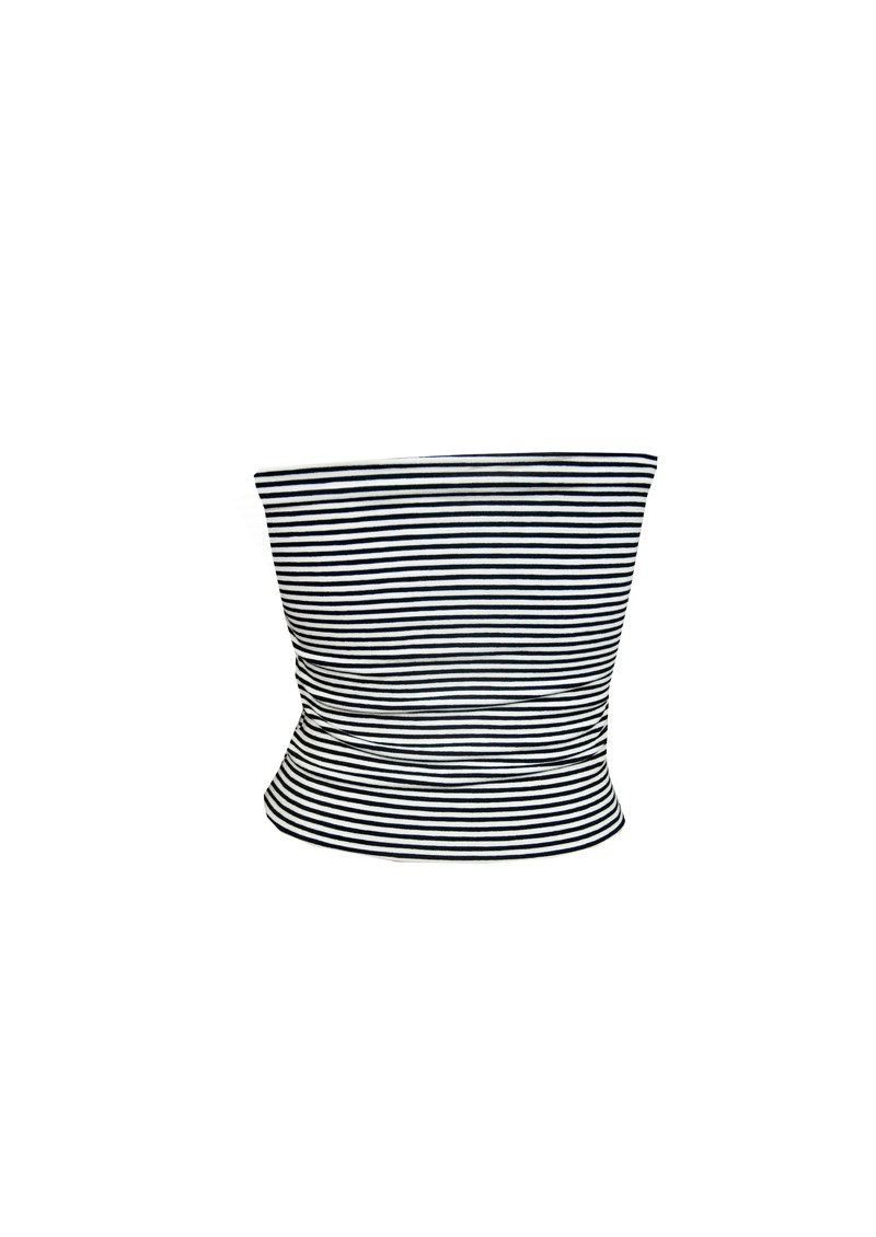 Butter By Nadia Single Striped Tube Top - Black And White-5668