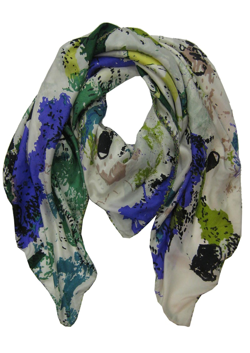 Lily and Lionel Friendship Flower Silk Scarf - Blue and Green main image