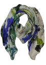 Lily and Lionel Friendship Flower Silk Scarf - Blue and Green