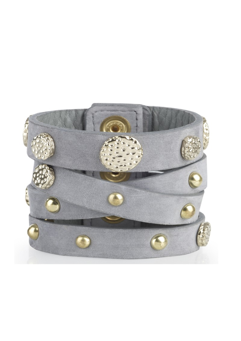 Lily and Lionel Suede Multi Strap Stud Cuff - Blue Grey main image