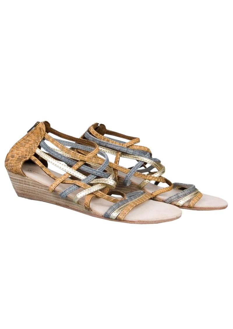 Antik Batik Galan Wedge Leather Sandals - Brown & Metallic main image