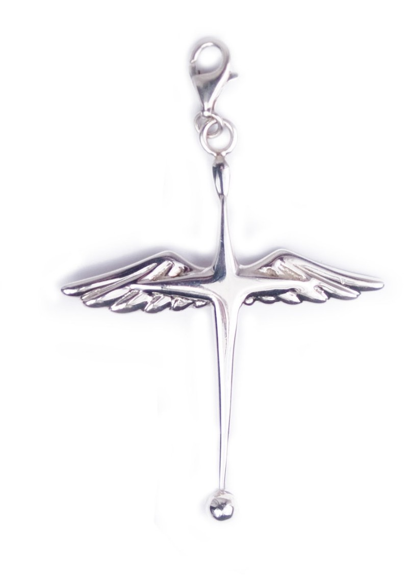 Winged Cross Pendant Charm - Silver main image