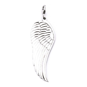 Large Angel Wing Pendant Charm - Silver