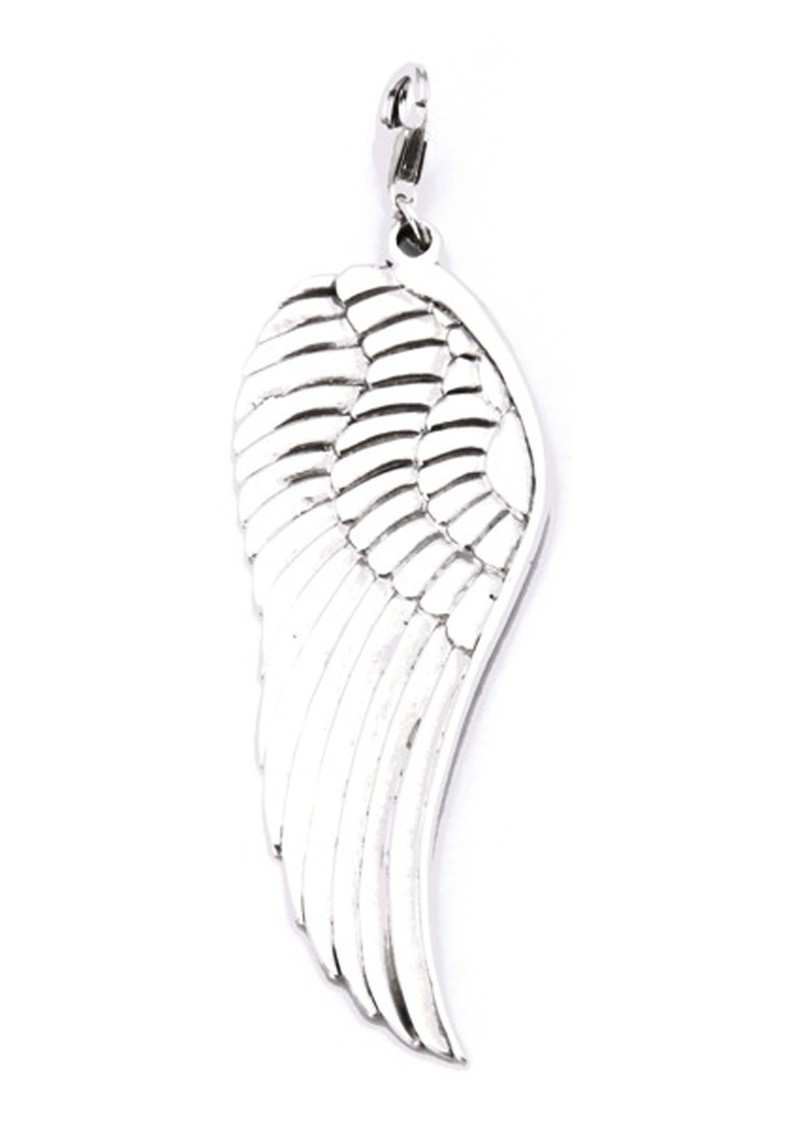 Large Angel Wing Pendant Charm - Silver main image